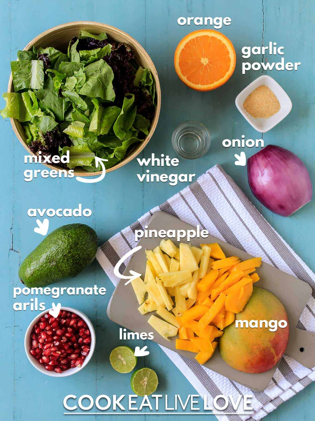 Ingredients to make mango avocado salad with text labels.