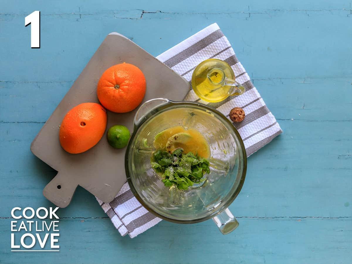 Ingredients to make avocado dressing in the blender