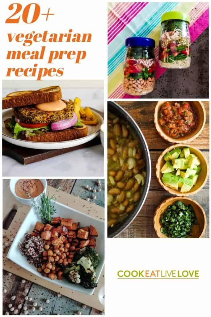 Pin for pinterest with four photos of recipes included in the post. Top right: Jars filled with salad, Bottom right:  Components of white bean chili with beans on left and toppings on right, Bottom left:  chickpeas in bowl with vegetables, Top left:  veggie burger.