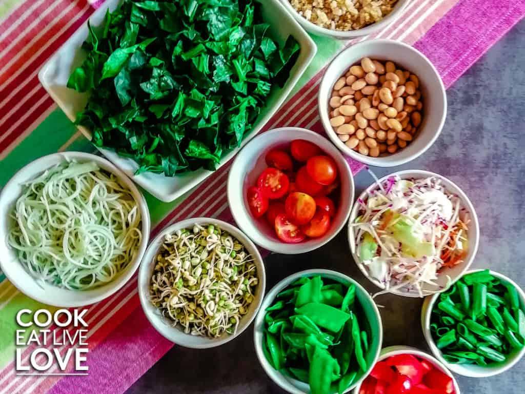 Ingredients to make asian salad jars.