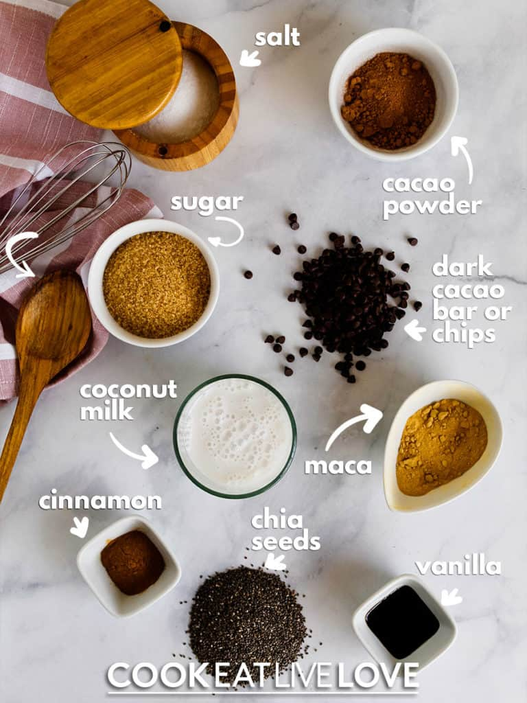 Ingredients needed to make quick chia pudding: salt, cacao powder, dark cacao chips, maca powder, vanilla, chia, cinnamon, coconut milk and sugar.