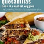 Pin for pinterest of quesadillas ready to eat with guacamole and salsa. Text on top: