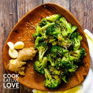 Broccoli and ginger on plate.