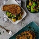 Overhead view of plate with crispy eggplant steak on veggies.