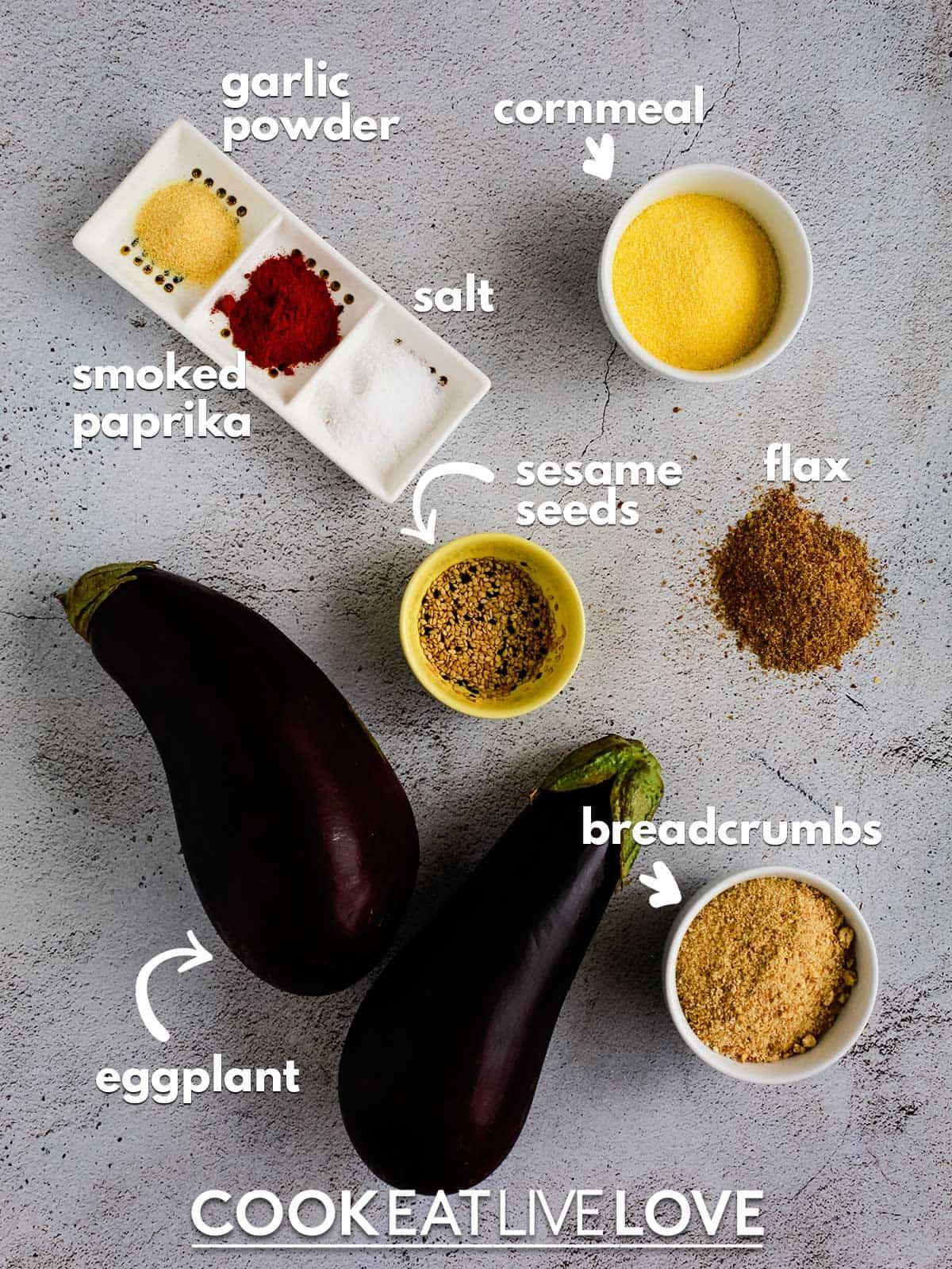Ingredients to make eggplant steaks