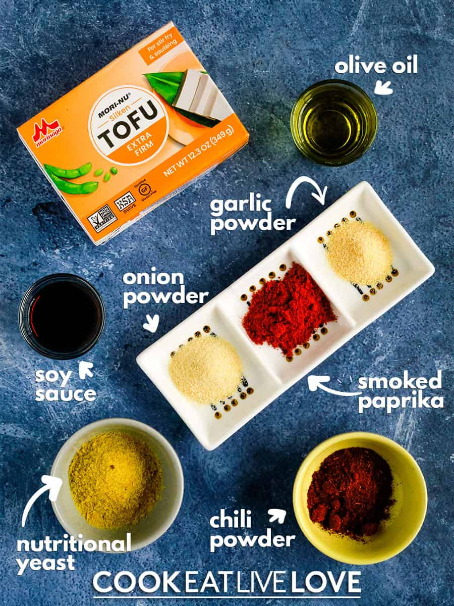 Overhead view of Ingredients used to make tofu ground beef.