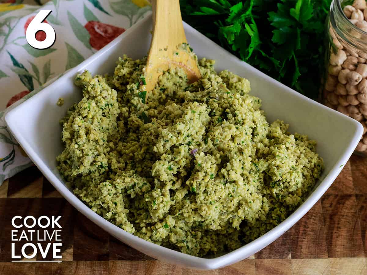 Falafel mixture in a bowl ready to make burgers