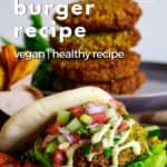Pin for pinterest with falafel burger and text on top.
