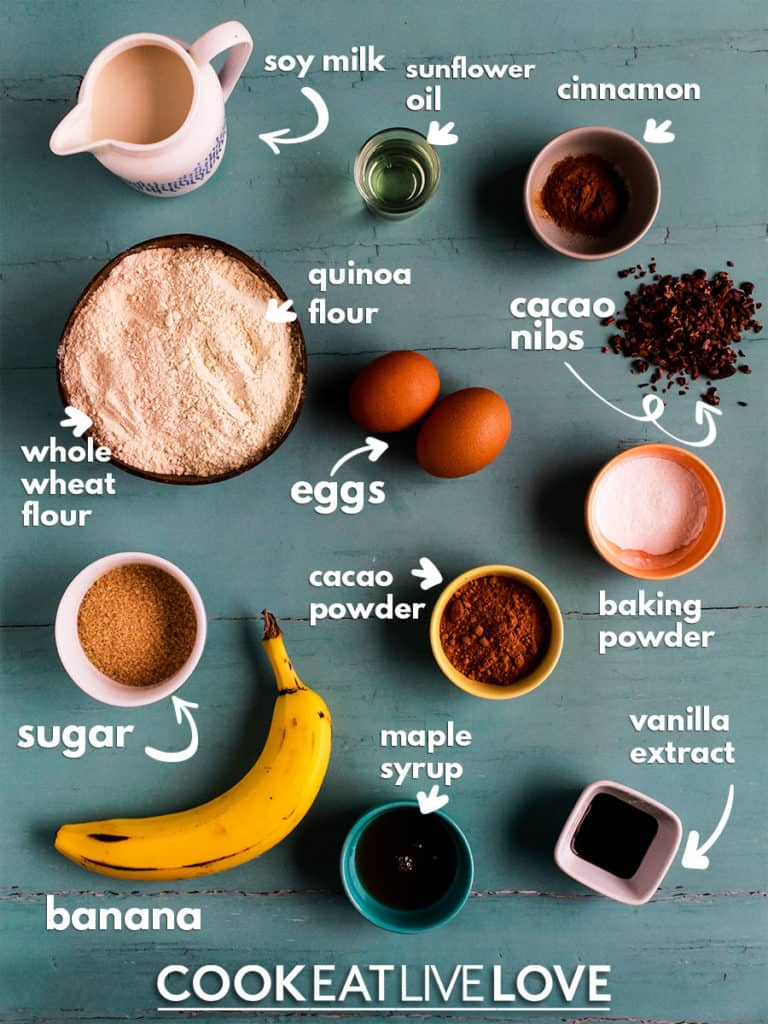 Overhead view of ingredients to make pancakes with text labels.