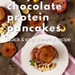 Pin for pinterest graphic for protein pancakes