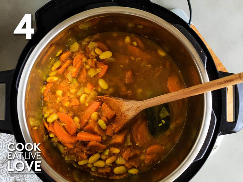 Overhead view of soup after cooking and lid is removed.
