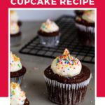 Whole wheat chocolate cupcake pin for pinterest showing multiple cupcakes.