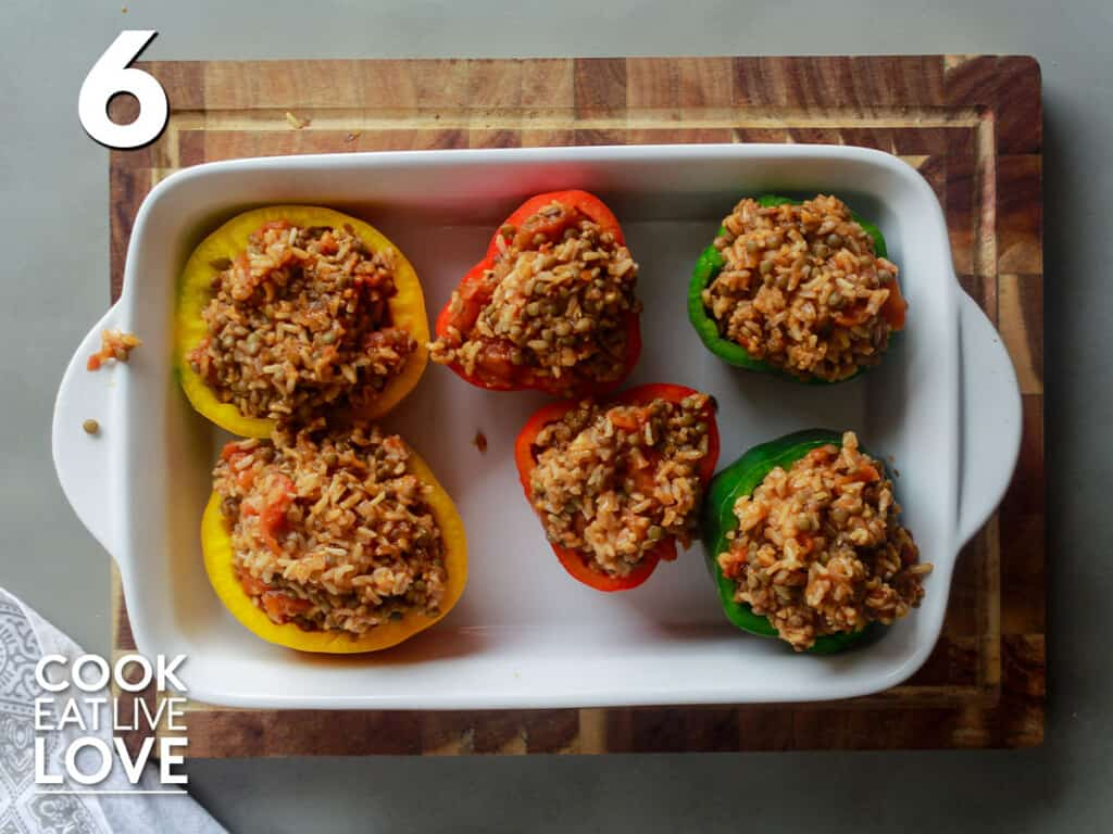 Mixture stuffed into peppers
