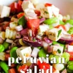 Pin for pinterest with closeup view of peruvian chopped salad.