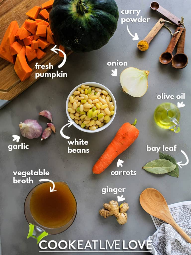 Overhead view of ingredients to make this soup recipe.