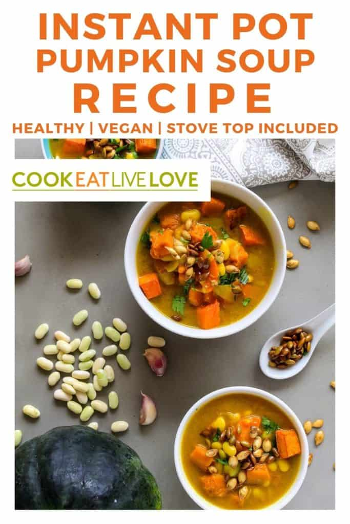 Pin for pinterest with overhead views of bowls of soup in bowls.