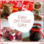 Pin for pinterest with four photos of different homemade food gifts on it.
