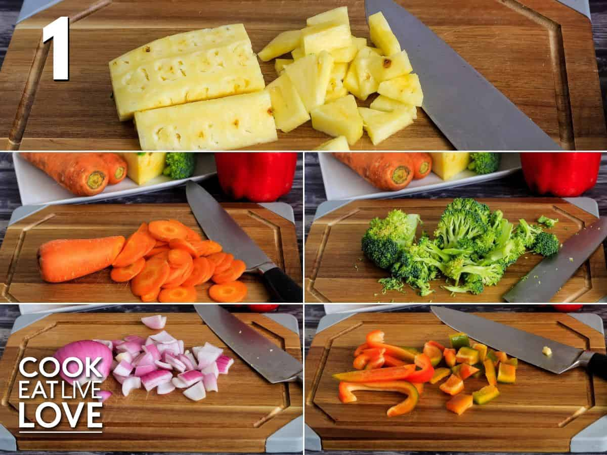 Collage of vegetables on cutting board to demonstrate the best shape and size to cut.