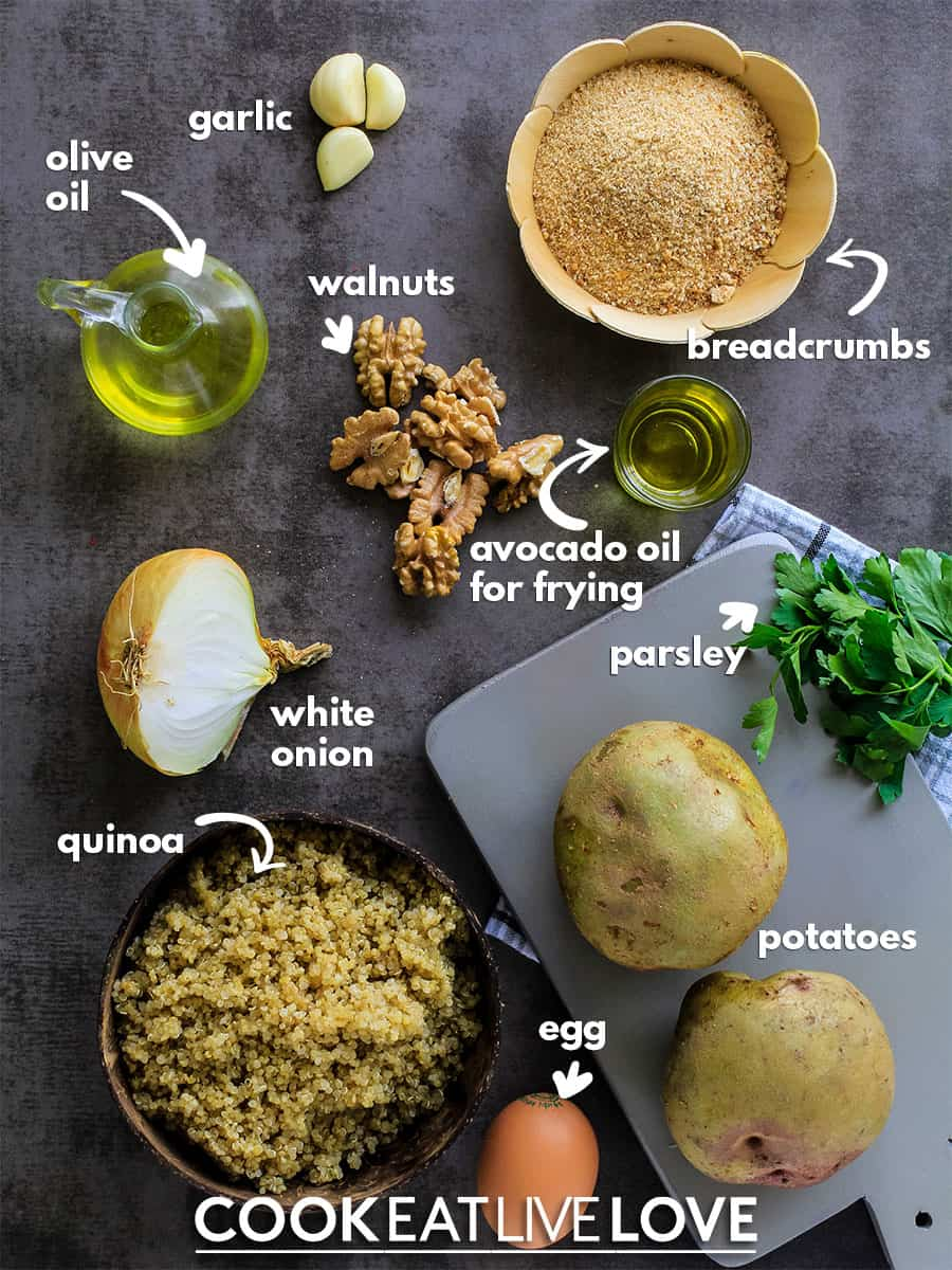 Ingredients needed to make potato quinoa croquettes.