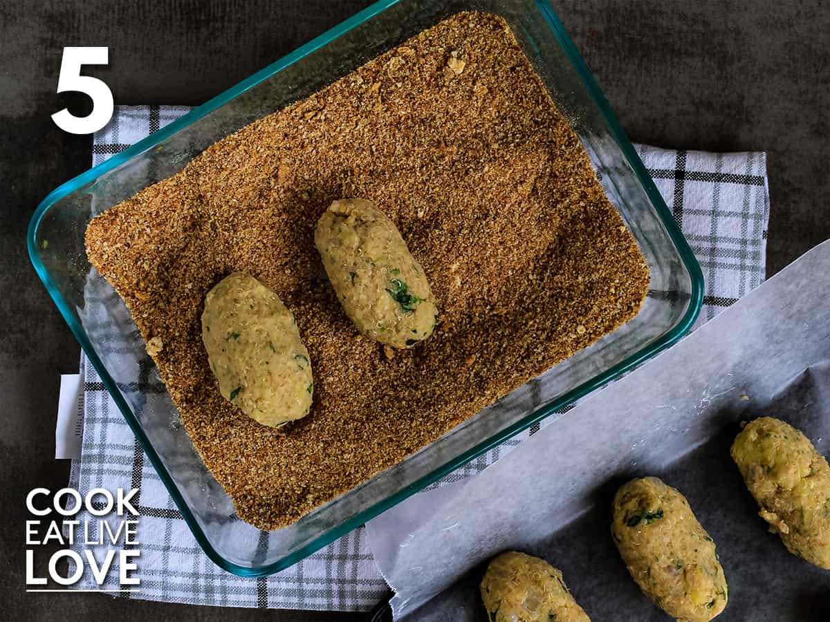 Shaped potato quinoa ovals are breaded with breadcrumbs.