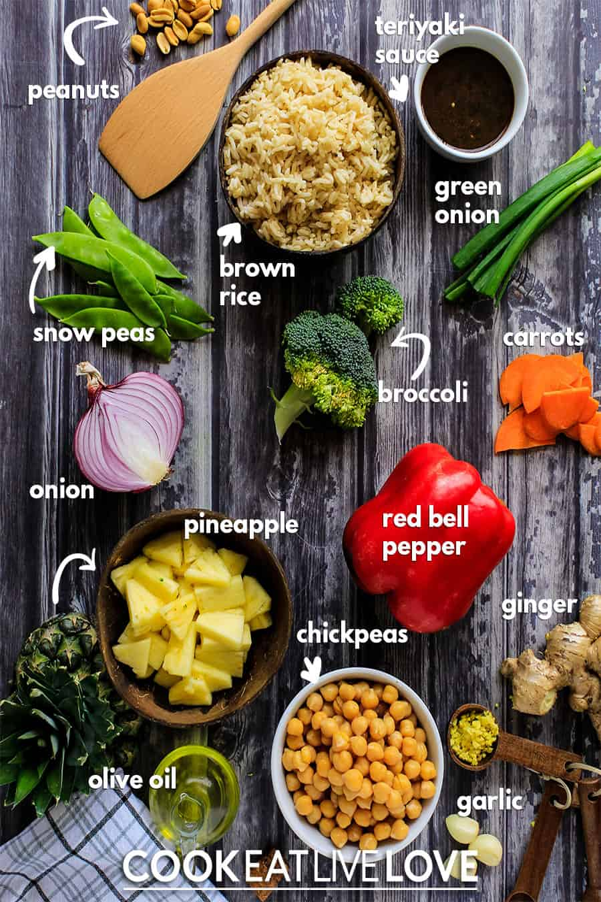 Overhead view of ingredients needed to prepare vegan pineapple fried rice