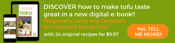 Ad for Beginner's Guide to Tofu Cookbook Green background with images from book on tablet and cell phone.