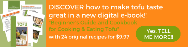 Ad for Beginner's Guide to Tofu Cookbook Orange Background with Image of various pages from book.