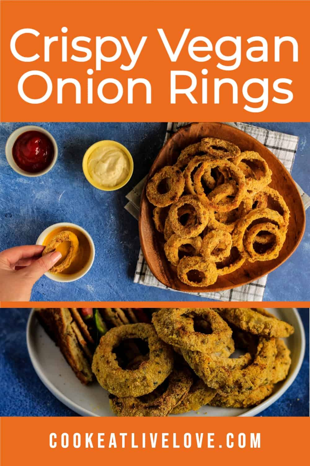 Pin for pinterest with different images of vegan baked onion rings.