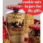 Pin for pinterest with cookie mix jar and text.