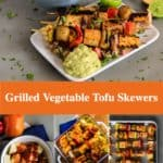 Pin for pinterest with multiple photos of making tofu skewers and finished ready to eat.