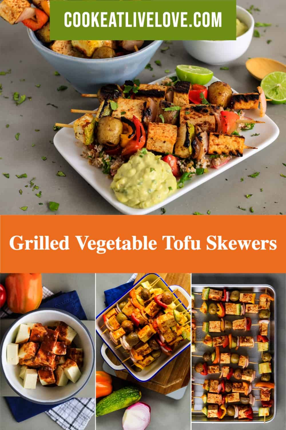 Pin for pinterest with multiple images of cooking and prepared tofu skewers.