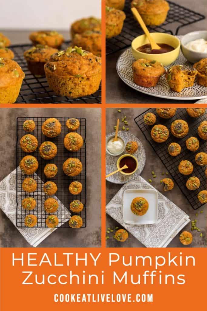 Pin for pinterest with multiple images of pumpkin zucchini muffins.