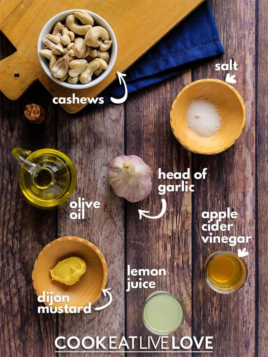 Ingredients to make vegan roasted garlic aioli.