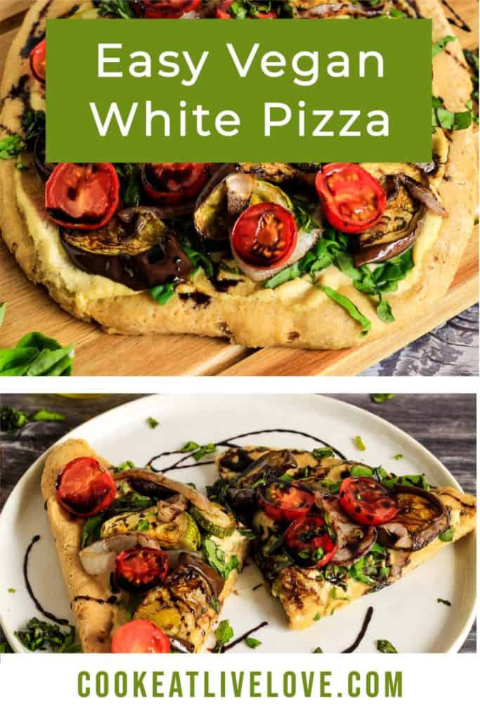 Pin for pinterest with multiple images of cooked vegan white pizza ready to eat.