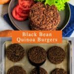 Pin for pinterest with overhead photos of black bean quinoa burgers on sheet pan to cook and finished patties.