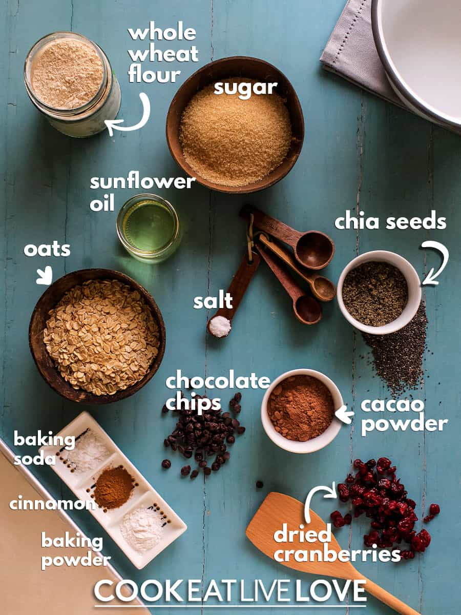 Overhead view of ingredients to make vegan chocolate oatmeal cookies.