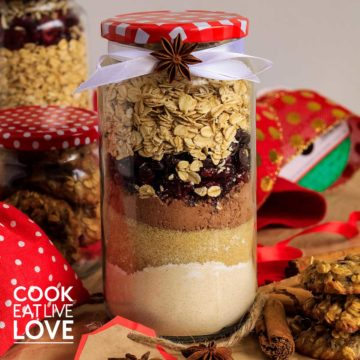 Cookie ingredients layered in a jar for a gift.