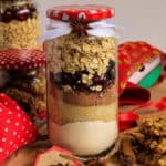 Close up view of assembled cookie gift jar for anytime gift giving.