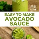 Pin for pinterest with overhead view of jar of avocado sauce and overhead view.