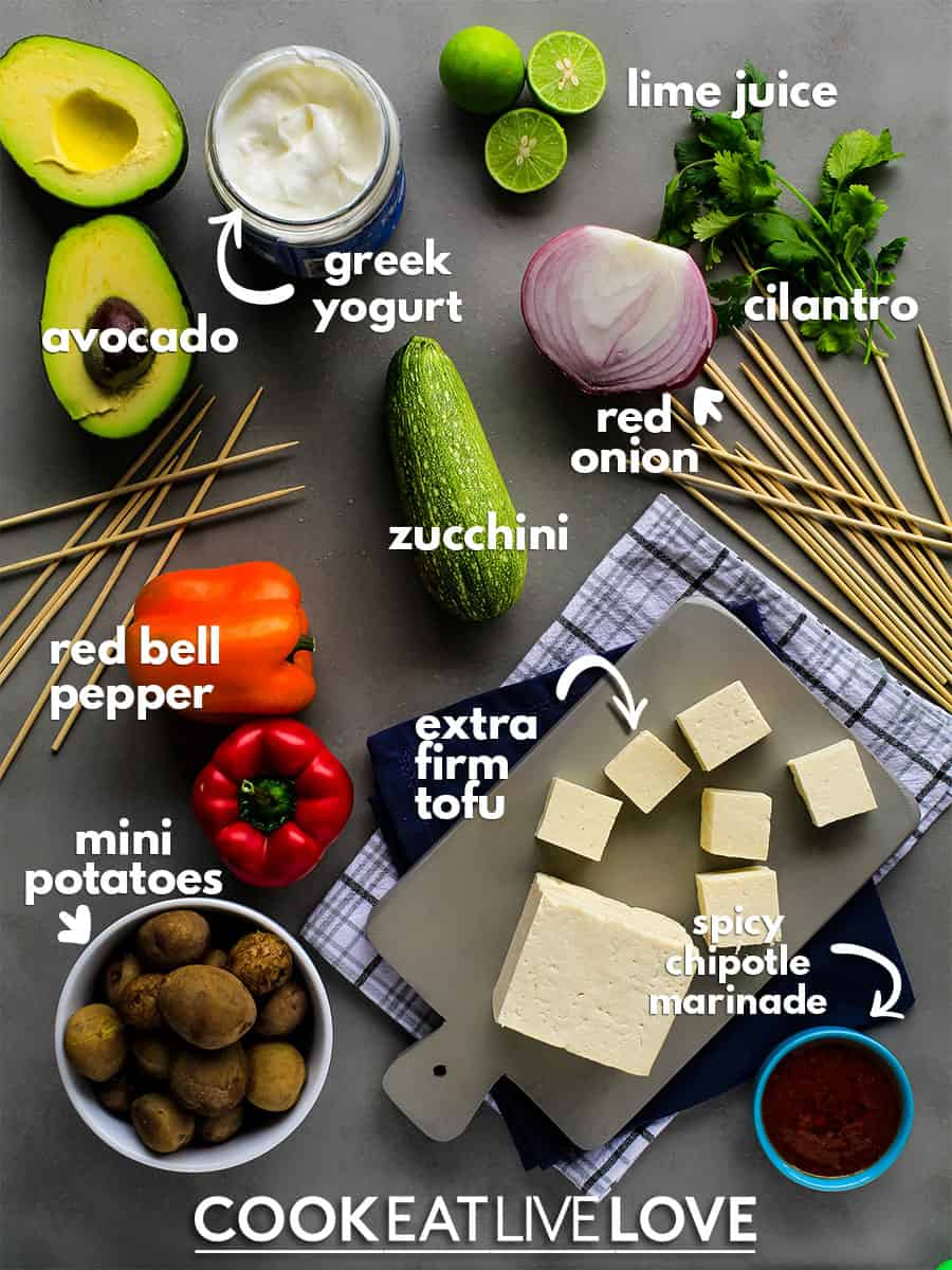 Ingredients to make grilled tofu skewers.