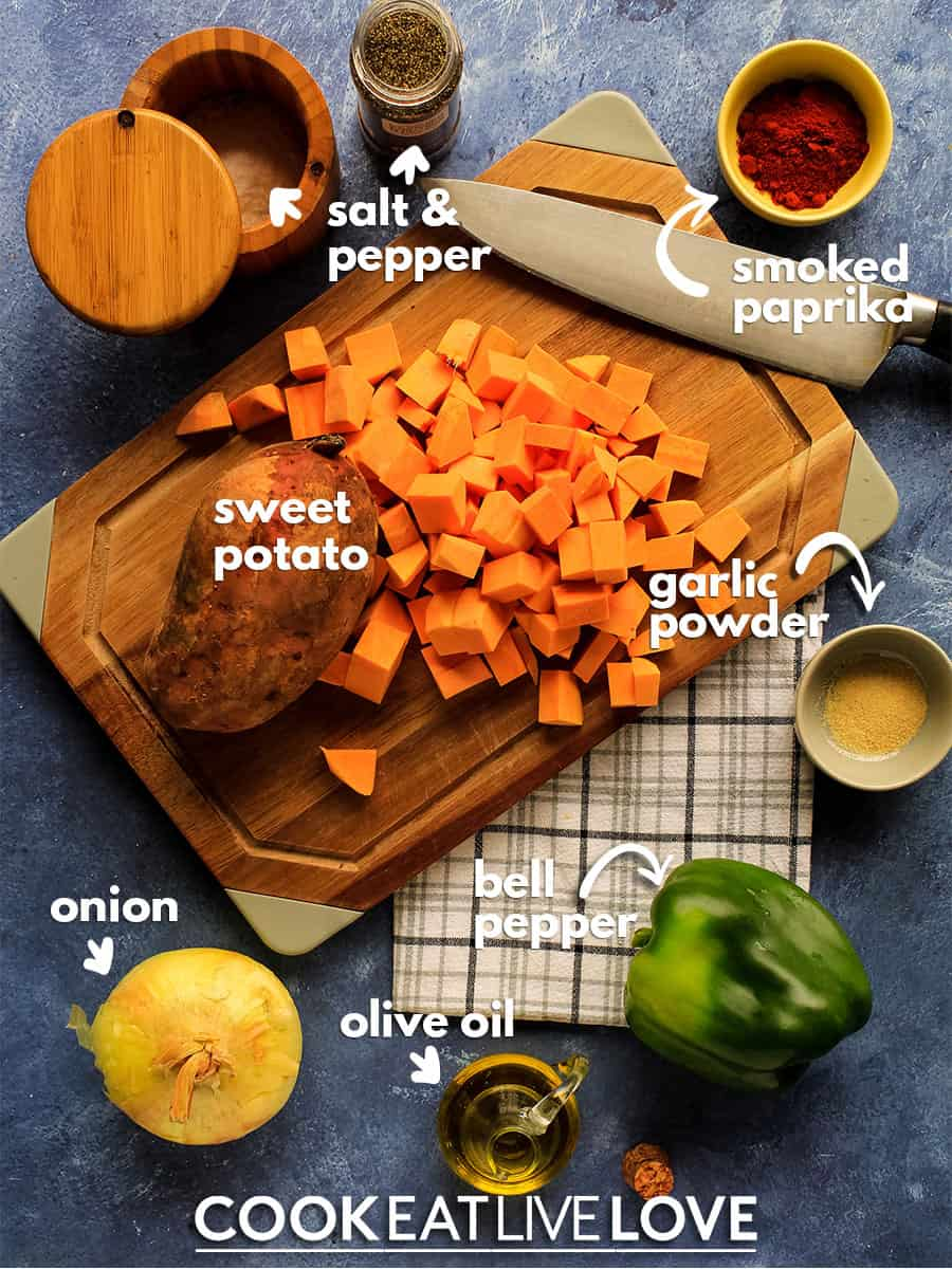 Overhead view of ingredients to make sweet potato hash.
