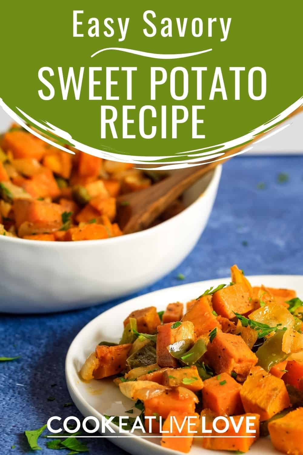 Pin for pinterest with bowl and plate of sweet potato hash served up.