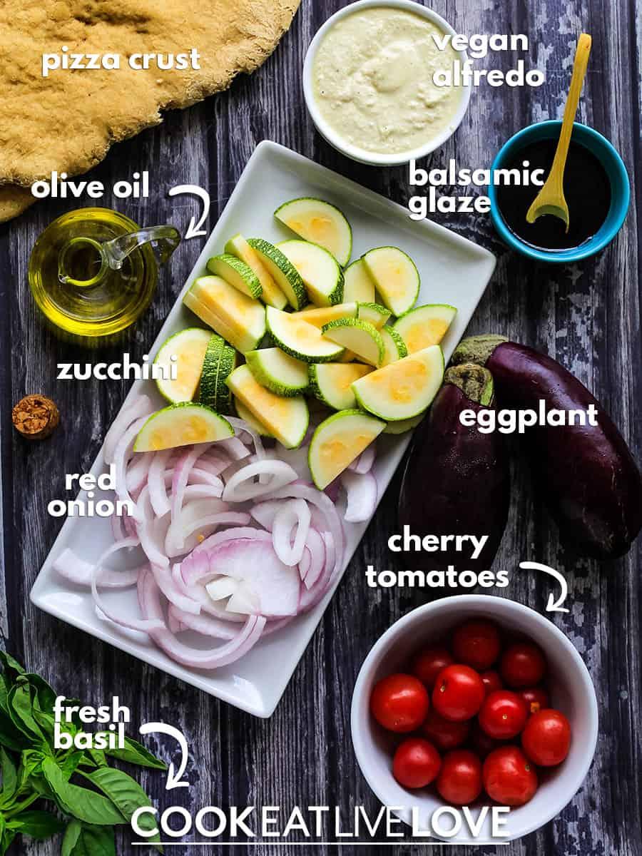 Ingredients to make vegan white pizza.