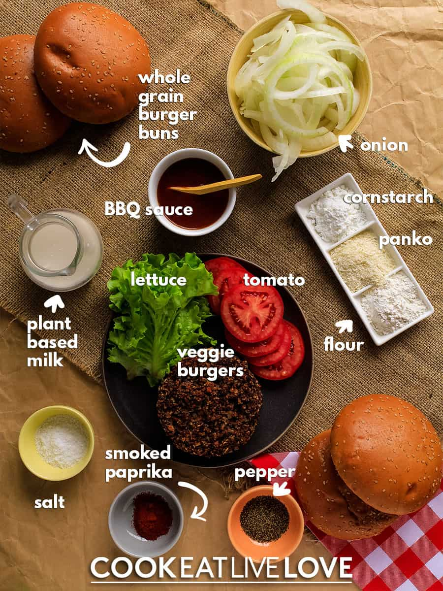 Overhead view of the ingredients needed to make a bbq veggie burger.