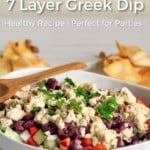 Pin for pinterest with image of dip in serving bowl and text on top.