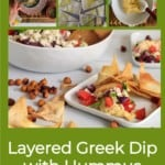 Pin for pinterest with multiple images of making the Mediterranean 7 layer dip and finished product.