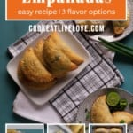 Pin for pinterest with overhead of different flavors of empanadas on plates.