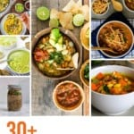 PIn for Pinterest showing some of the soups represented in this hearty vegetarian stews and soups collection.
