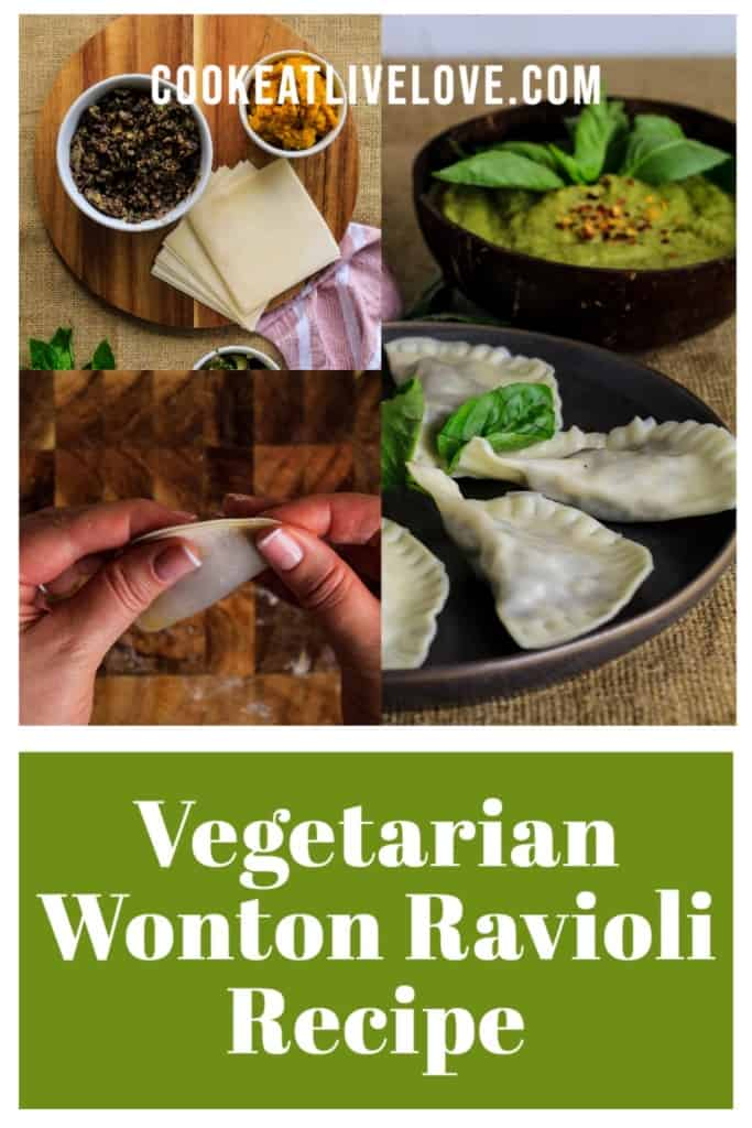 Pin for pinterest with different pictures of making and finished wonton raviolis.