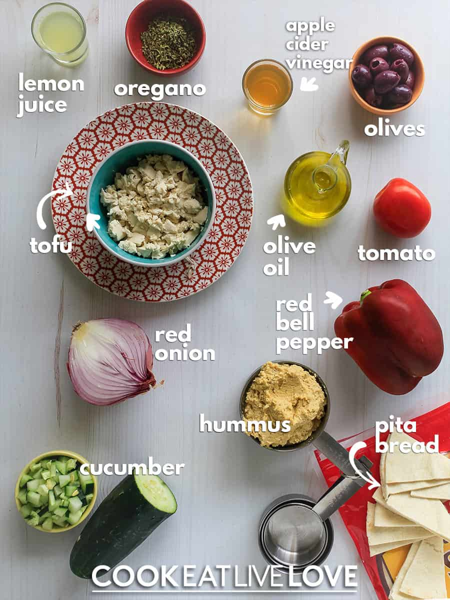 Overhead view of ingredients needed to make this easy vegan dip recipe.